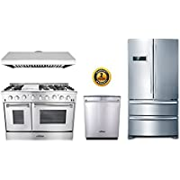 Thor Kitchen 4-Piece Bundle with 48 6 Burner Stainless Steel Gas Range, 48 Under Cabinet Range Hood, 36 Franch Door Fridge and 24 Dishwasher
