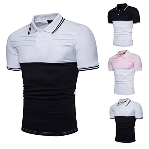 Mens Shirt,Haoricu Hot Sale!Men's Short Sleeve Polo Shirt Soft Lapel Tee Casual Slim Fit T Shirt Top Blouse