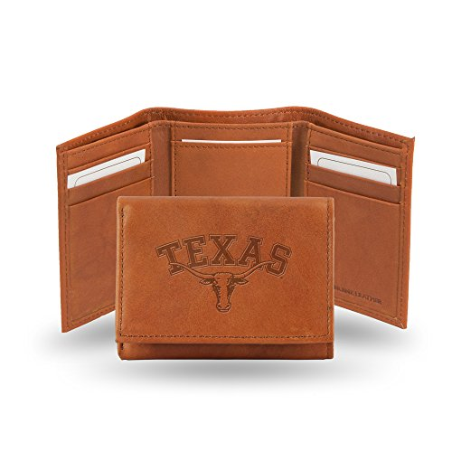 Rico Industries NCAA Texas Longhorns Embossed Leather Trifold Wallet, Tan ()