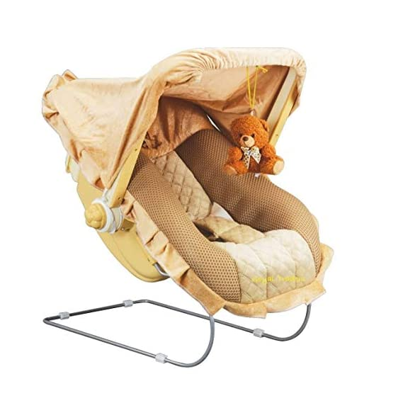 Goyal's 12 in 1 Premium Musical Baby Feeding Swing Rocker Carry Cot Cum Bouncer with Mosquito Net and Storage Box (Brown