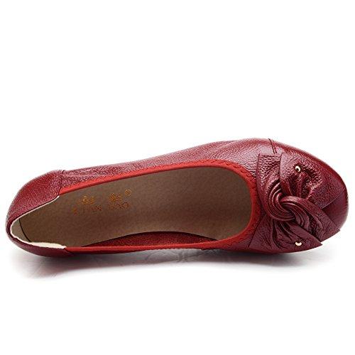 Odema Mujeres Leather Slip Ons Mocasines Mocasines Mocasines Zapatos De Conducción Casual Zapatos 11 Color Tamaño 6.5-9.5 Rojo