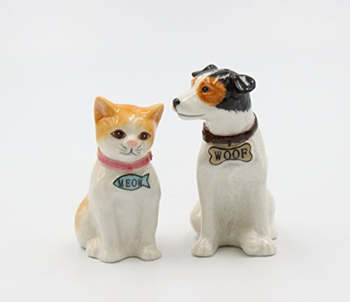 Cosmos Gifts 20781 Woof Meow Salt And Pepper Shaker One Size White From Cosmos Gifts Ibt Shop