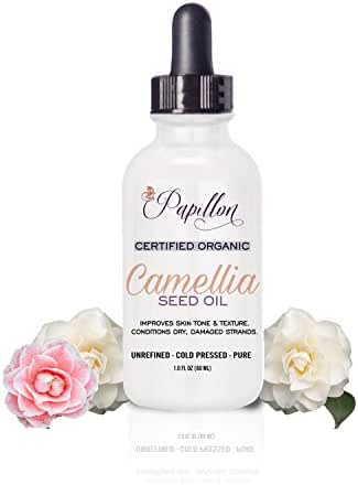 Papillon 100% Pure Camellia Oil. Organic Cold Pressed with Natural Omega-9 & Rich Anti-Oxidants for Anti-Ageing. With Vitamins for Vibrant Skin, Hair & Nails. Reduces scars & stretch marks
