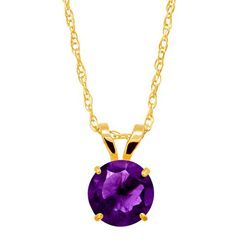 Necklace Gold Amethyst - 3/4 ct Natural Amethyst Round-Cut Solitaire Pendant Necklace in 10K Gold
