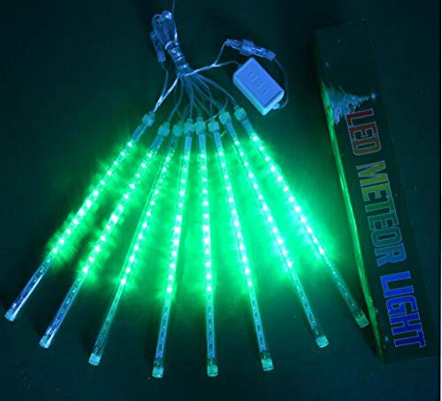 JULED Meteor Shower Rain Lights,Drop/Icicle Snow Falling Raindrop 30cm 8 Tubes Waterproof Cascading Lights for Wedding Xmas Home Decor (Green)