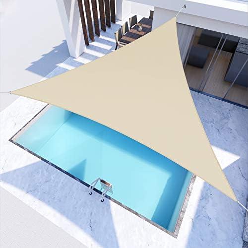 Windscreen4less Terylene Waterproof Sun Shade Sail UV Blocker Triangle Sunshade Patio Canopy Sail 24' x 24' x 24'