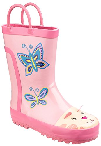 Cotswold girls Cotswold Girls Puddle Patterned Rubber Welly Wellington Boot Pink Pink Rubber UK Size 8 (EU 26) by Cotswold
