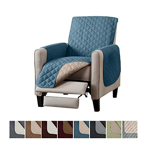 Home Fashion Designs Deluxe Reversible Quilted Furniture Protector. Perfect for Families with Pets and Kids. (Recliner - Smoke Blue/Flax)