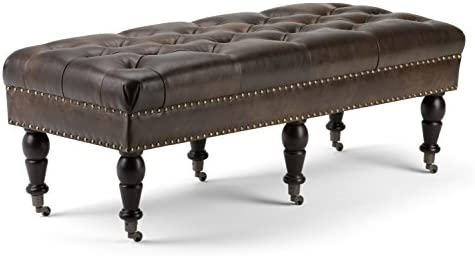 SIMPLIHOME Henley 49 inch Wide Rectangle Ottoman Bench Distressed Brown Tufted Footrest Stool