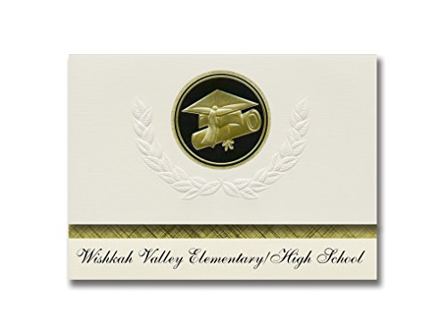 (Signature Announcements Wishkah Valley Elementary/High School (Aberdeen, WA) Graduation Announcements, Presidential Elite Pack 25 Cap & Diploma Seal Black & Gold)