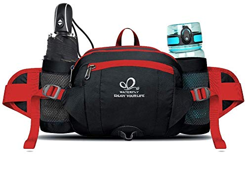 WATERFLY Fanny Pack with Water Bottle Holder Unisex Hiking Waist Packs for Walking Running Lumbar Pack fit for iPhone iPod Samsung Phones