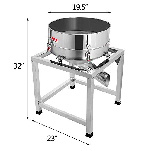 Happibuy Automatic Powder Sifter Shaker Machine 110V 300W Flour Sieve Machine Stainless Steel 2 Screens Industrial (Silver) by Happibuy (Image #2)