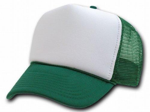 DECKY Two Tone Trucker Mesh Caps Plain Baseball Hat- Dark Green - Dark Green Mesh Cap
