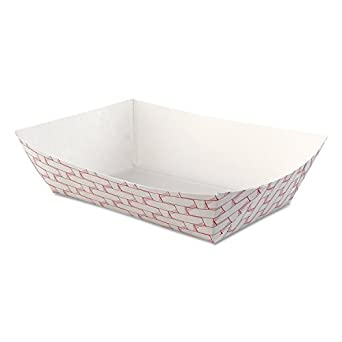 Boardwalk 30LAG250 Paper Food Baskets, 2.5lb Capacity, Red/White (Case of 500)