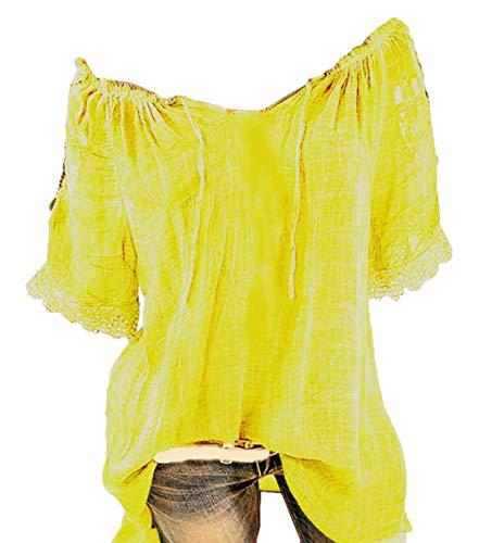 Blouse Manches col Shirt col V Scothen T Shirt Courtes Femme Tops Manches Dentelle V T Femmes Tops Courtes imprime Floral Manches en en T en Courtes Femmes Dentelle Yellow Shirt imprim Dentelle wBwq8On6
