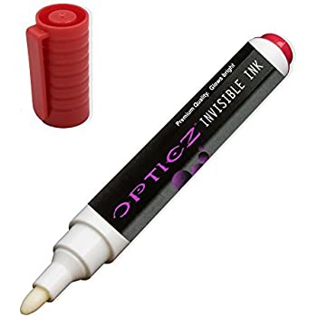 Opticz UV Blacklight Reactive Large Tip Invisible Ink Marker, Red