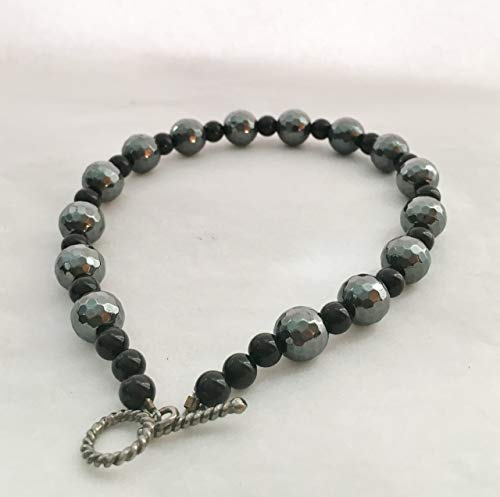 Boutique Fashion Necklace for Dogs with Hematite and Onyx Gemstones