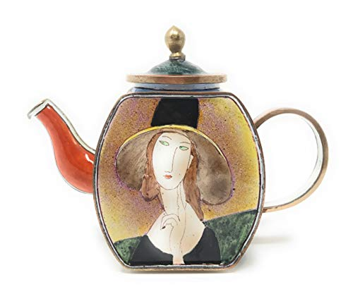Kelvin Chen Mondigliani's Lady with Hat Enameled Miniature Teapot, 4.25 Inches Long