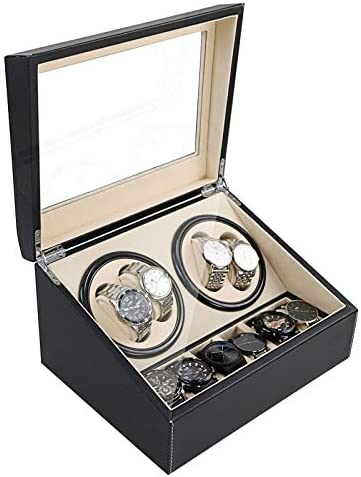 Automatic Watch Winder Display Box, 4+6 Automatic Rotation Leather Wood Watch Winder Collector Display Box Watch Case (US STOCK) (Black)