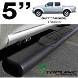 """Topline Autopart 5"""" Oval Matte Black Side Step Nerf Bars Running Boards For 05-16 Frontier Crew Cab"""