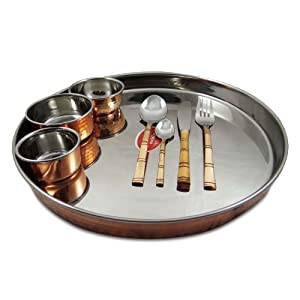 Traditional Copper and Steel Thali Serving Set 4