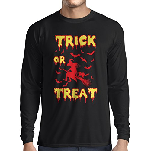 lepni.me Long Sleeve t Shirt Men Trick or Treat - Halloween Witch - Party outfites - Scary Costume (Medium Black Multi Color) for $<!--$16.04-->