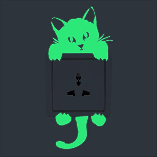 m·kvfa Cartoon Switch Wall Sticker Luminous Creative Cute Kitten Funny Cat Noctilucent Glow Light Switch Decal Art Wall Mural for Baby Nursery Room Home Decor (B) ()