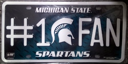 NCAA Michigan State Spartans #1 Fan Metal License Plate Tag