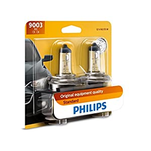 Philips 9003 Standard Halogen Replacement Headlight Bulb, 2 Pack