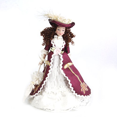 Dovewill 1/12 Doll House Miniature Porcelain Dolls Classical Victorian Lady Women with Hat & Display Stand for Home Garden Decoration