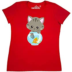 inktastic - Kitty and The Fish Bowl, Cute Women's T-Shirt Medium Red 35a84