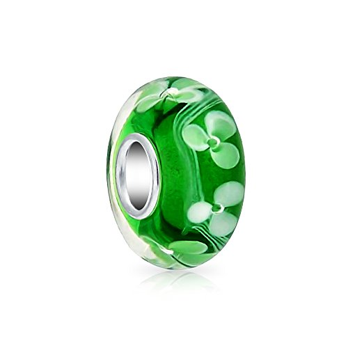 Leaf Glass Charm Sterling Silver (Green white Three Leaf Clover Murano glass Lampwork .925 Sterling Silver)