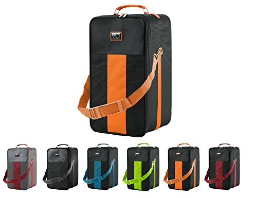 Large Wig Travel Box with Top Handle, Shoulder Strap & Double Zipper, Carrying Case with Removable Head-Holding Base - Black & Orange - by Adolfo Design