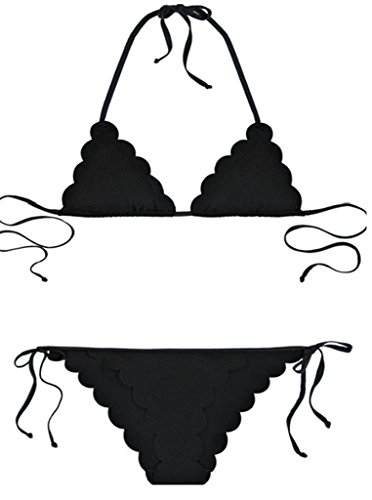 HoHer Women's Halter Scalloped Two Piece Padding Triangle Bikini Set Bathing Swimsuits Black (US8-10)Medium