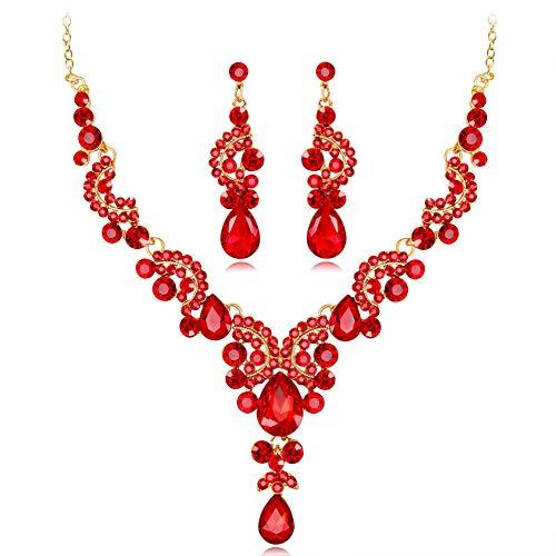 - Shesgirl Women's Wedding Bridal Austrian Crystal Teardrop Cluster Statement Necklace Dangle Earrings Set