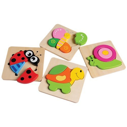 Constructive Playthings CPX-1214 Set of 4 Easy Chunky Puzzles Perfect for Little Hands ()