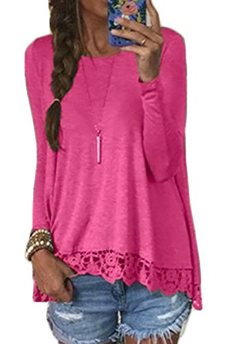 Halife Women's Crewneck Long Sleeve T-Shirts Tops With Lace and Crochet Trim (L, Rose Red) - Crochet Trim Womens Top