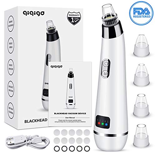 Head Removal - QIQIGO Blackhead Remover Pore Vacuum Upgraded 5 in 1 Blackhead Cleaning Tool Device Comedo Removal Suction Beauty Device Electric Blackhead Vacuum Cleaner Device with LED Display for Men and Women