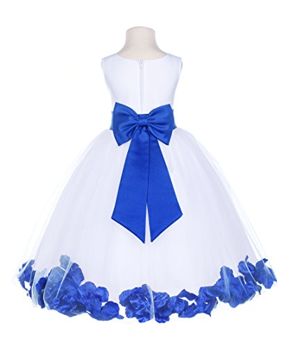 ekidsbridal White Tulle Rose Petals Junior Flower Girl Dresses Christening Dresses 302T M