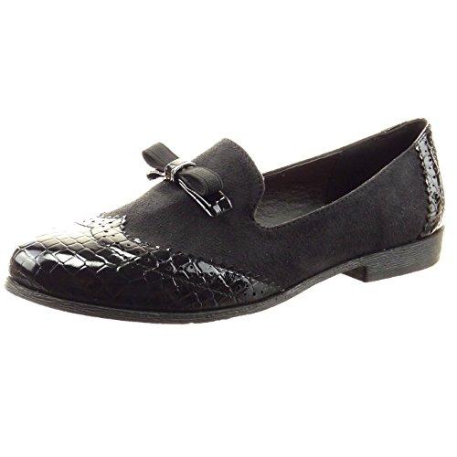 Sopily - Zapatillas de Moda Mocasines Bailarinas Tobillo mujer nodo piel de serpiente perforado Talón Tacón ancho 2 CM - Negro