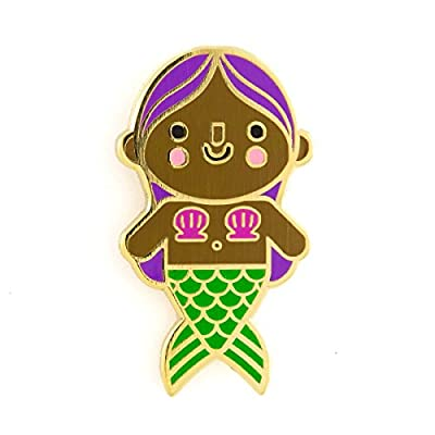 New These Are Things Mermaid Baby Purple Hair Enamel Pin for cheap