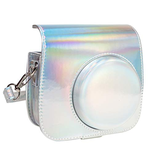 Queen3C Aurora Silver Mini 9 Camera Case Bag for Fujifilm Instax Mini 9 Mini8 Mini8+ Instant Camera, Soft PU Leather Bag with Removable Adjustable Shoulder Strap. (Case Bag, Aurora Silver) ()
