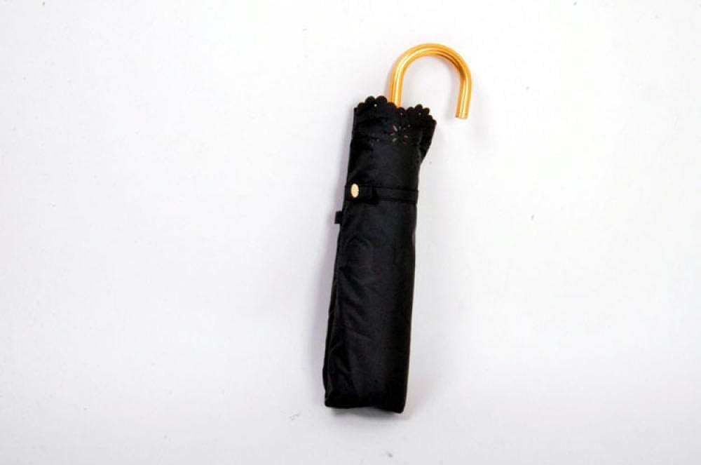 Umbrella Folding Sunscreen Umbrella Single Mori Openwork Lace Anti-Uv Anti-Uv Sunshade Dual-Use Sun Umbrella@Blue