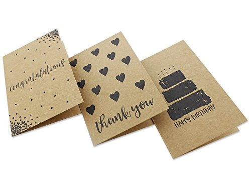 36 Pack Assorted All Occasion Kraft Greeting Cards - Includes Assorted Happy Birthday, Congratulations, Sympathy, Thank You Cards - Bulk Box Set Variety Pack with Envelopes Included - 4 x 6 inches by Best Paper Greetings (Image #8)