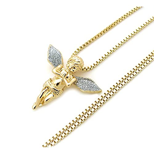 Angel pendants chains amazon sparkled micro baby angel cherub pendant 2mm 24 box chain necklace gold silver tone mmp86grbx mozeypictures Choice Image