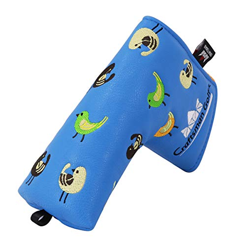 Craftsman Golf Birdie Birds Blue Blade Putter Cover Headcover for Odyssey Scotty Cameron (Blade Putter Cover) ()