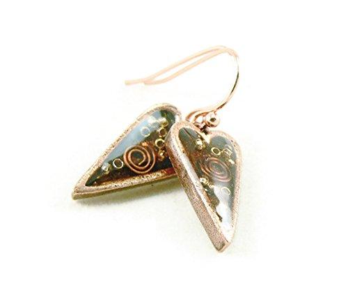 Orgone Energy Small Primitive Heart Dangle Earrings-Carnelian in Antiqued Copper Finish
