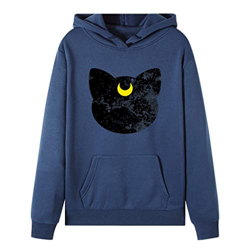NANTE Top Loose Women's Blouse Cartoon Printed Sweatshirt Pullover Long Sleeve Hooded Shirts Womens Tops Costume Clothes (Blue, ()