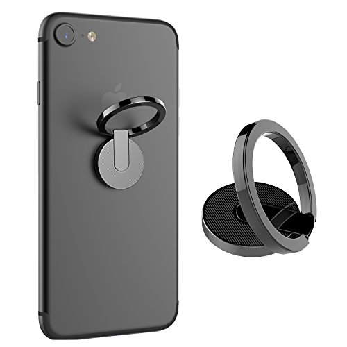ICHECKEY Finger Ring Stand 360° Rotation Cell Phone Ring Stand Holder Grip Kickstand Universal Mobile Phone Ring for iPhone 7 7 Plus 6S 6, Samsung Galaxy S6 S7 S8 S8 Plus, Note, LG (Black)