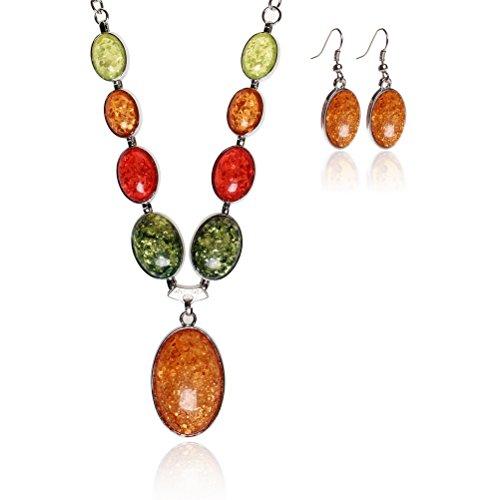Jewelry Sets SUMAJU Necklace Earrings Set Bib Pendant Artificial Amber (Winter Jewelry)